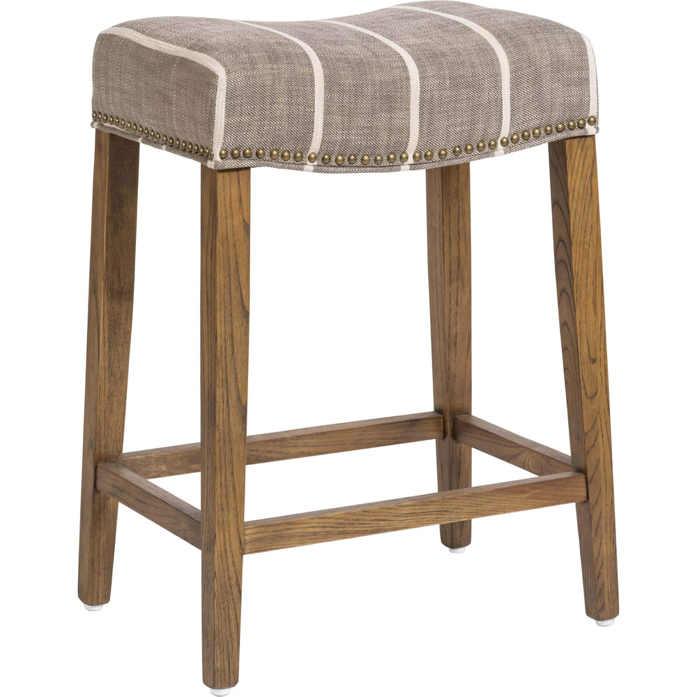 Saddle Counter Stool, Striped Graphite - Furniture - Dining - High Fashion Home