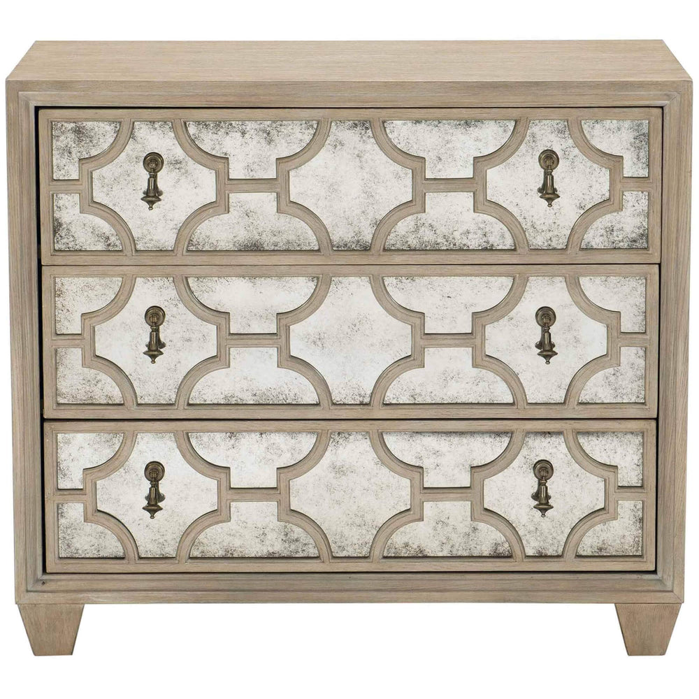 Santa Barbara Antiqued Mirror Nightstand - Furniture - Bedroom - High Fashion Home