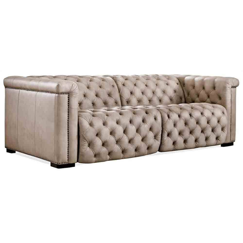Savion Power Leather Motion Sofa, Giovanni Taupe