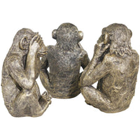 See No, Hear No, Speak No Evil Monkeys, Gold, Set of 3 - Accessories - High Fashion Home