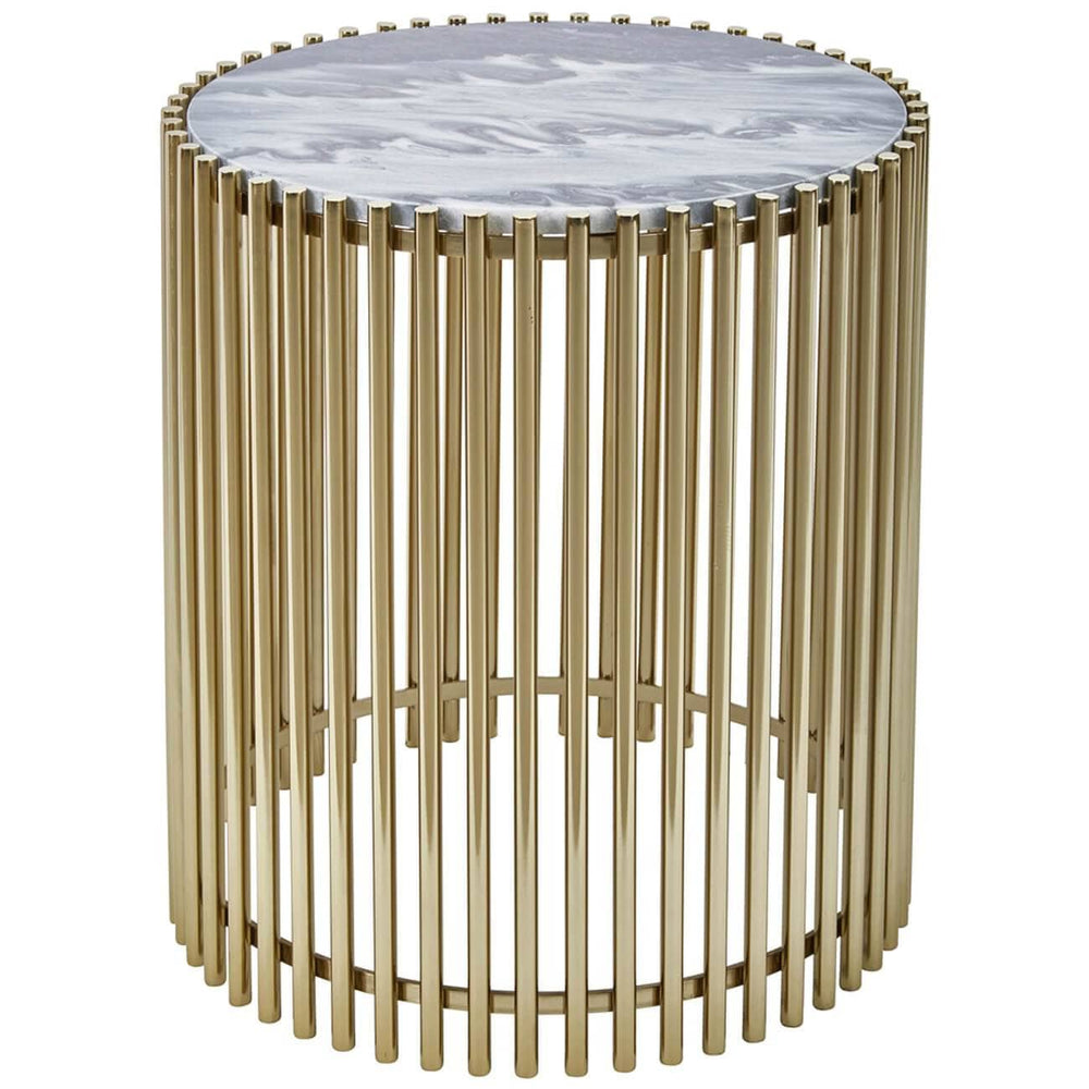 Steel and Marble Accent Table, Gold - Furniture - Accent Tables - High Fashion Home
