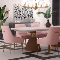 Beatrix Pleated Chair, Blush/Brushed Gold Legs - Furniture - Dining - High Fashion Home