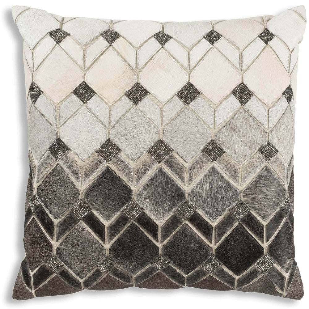 Theo Hide Pillow with Silver Beadwork - Accessories - High Fashion Home