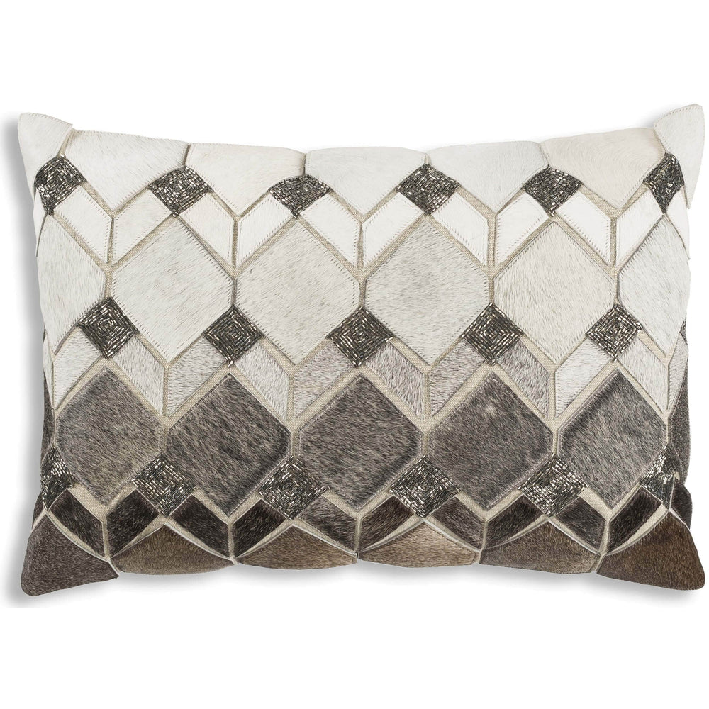 Cloud 9 Theo Lumbar Hide Pillow with Silver Beadwork - Accessories - High Fashion Home