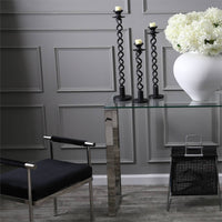 Velveteen Bench, Black/Silver Base - Furniture - Chairs - High Fashion Home