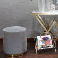 Velveteen Stool, Gray/Gold Base - Furniture - Chairs - High Fashion Home