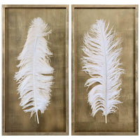 White Feathers Shadow Box, Set of 2 - Accessories - High Fashion Home