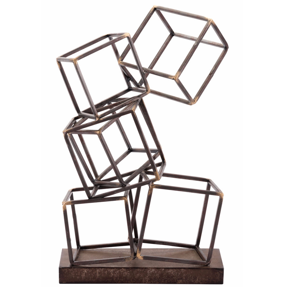 Squares Figurine - Accessories - Tabletop - Bronze, Brass & Gold