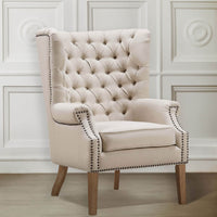 Abe Wing Chair, Beige - Furniture - Chairs - High Fashion Home