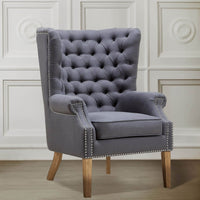 Abe Wing Chair, Grey - Furniture - Chairs - High Fashion Home