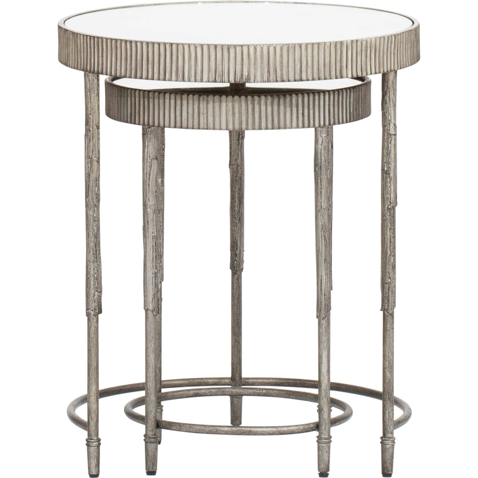 Burke Nesting Side Table: Accent Nesting Tables, Silver (Set Of 2)