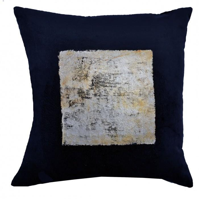 Cloud 9 Gold Foil Square Velvet Pillow, Black - Accessories - High Fashion Home