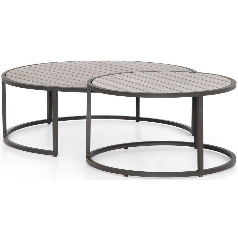 Alda Outdoor Nesting Table, Weathered Grey - Furniture - Accent Tables - High Fashion Home
