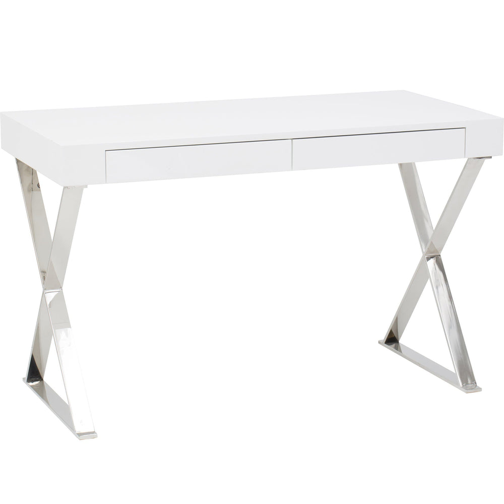 Alexa Desk, White/Polished Stainless Base - Furniture - Office - High Fashion Home