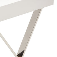 Alexa Console, White/Polished Stainless Base - Furniture - Pangea
