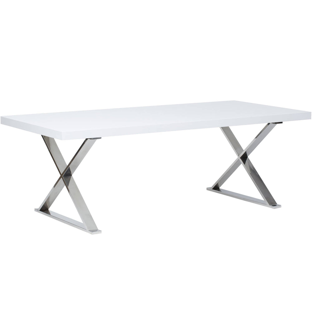 Alexa Dining Table, White/Polished Stainless Base - Modern Furniture - Dining Table - High Fashion Home