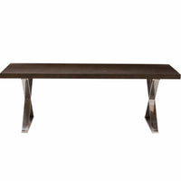 Alexa Dining Table, Espresso/Polished Stainless Base - Furniture - Dining - Dining Tables
