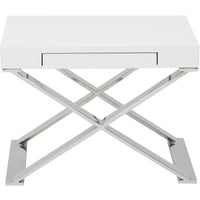 Alexa Side Table, White/Polished Stainless Base - Furniture