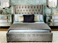 Amelia Bed, Brussels Charcoal - Modern Furniture - Beds - High Fashion Home