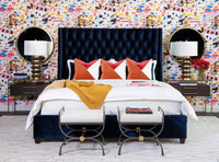 Amelia Tall Bed, Brussels Midnight - Modern Furniture - Beds - High Fashion Home