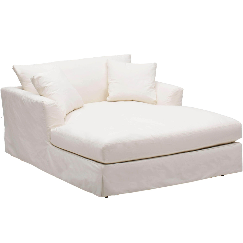 Andre Slipcover Chaise, Dyno White - Furniture - Chaises & Benches