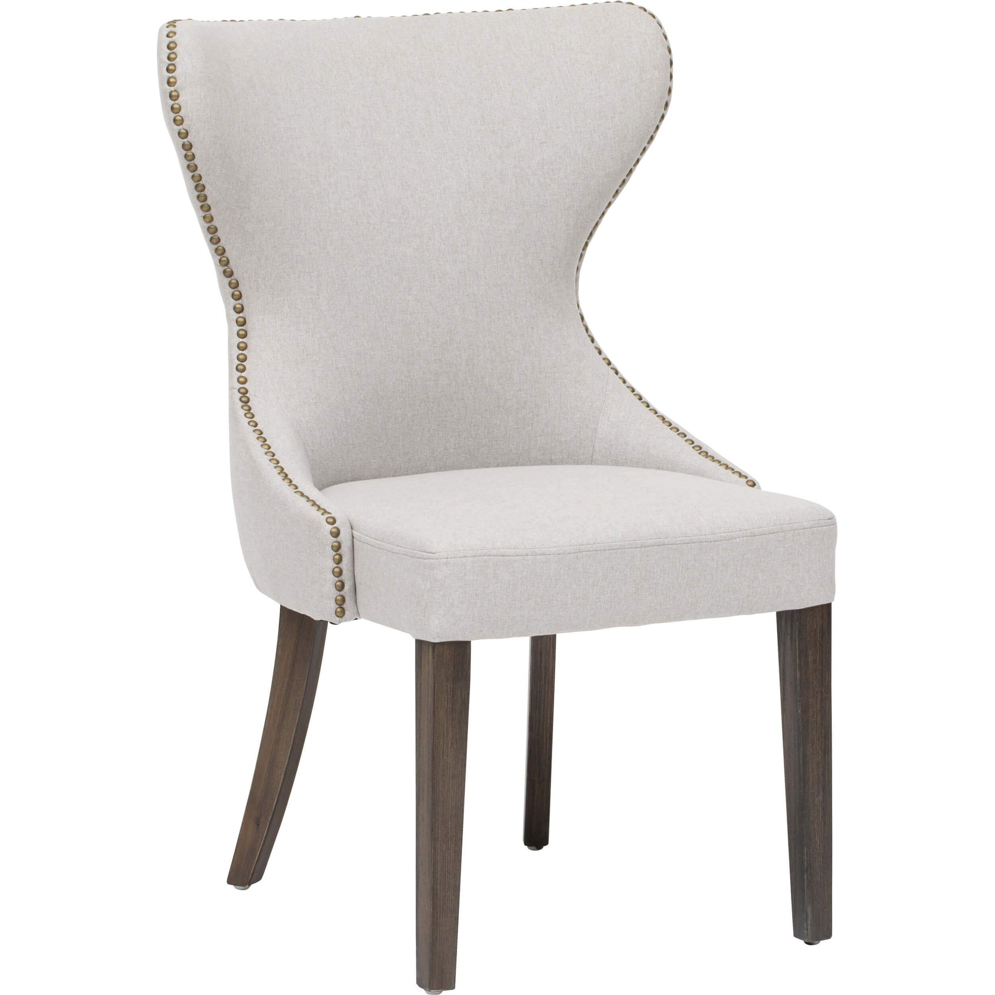 Tremendous Ariana Dining Chair Light Grey Brass Nailheads Ncnpc Chair Design For Home Ncnpcorg