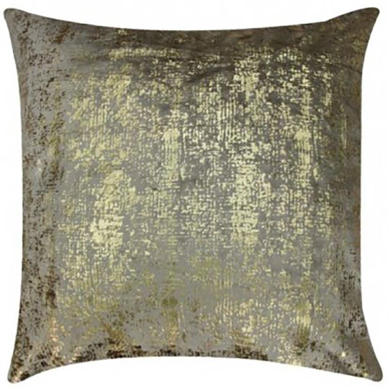 Cloud 9 Stone Velvet Pillow with Gold Print - Accessories - Pillows