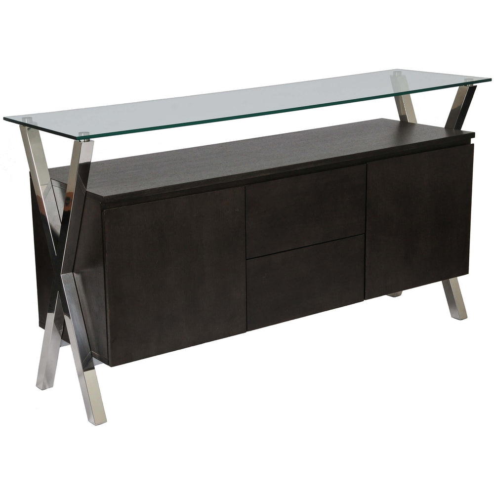 Beverly Buffet, Espresso/Polished Stainless Base - Furniture - Storage - Dining
