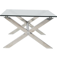 Beverly Coffee Table, Clear/Polished Stainless Base - Furniture - Pangea