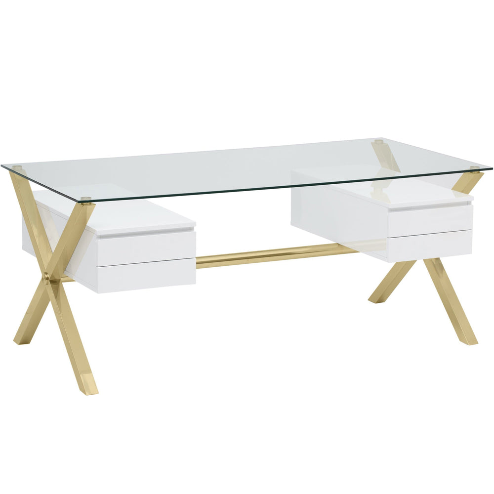 Beverly Large Desk, White/Gold - Furniture - Office - High Fashion Home