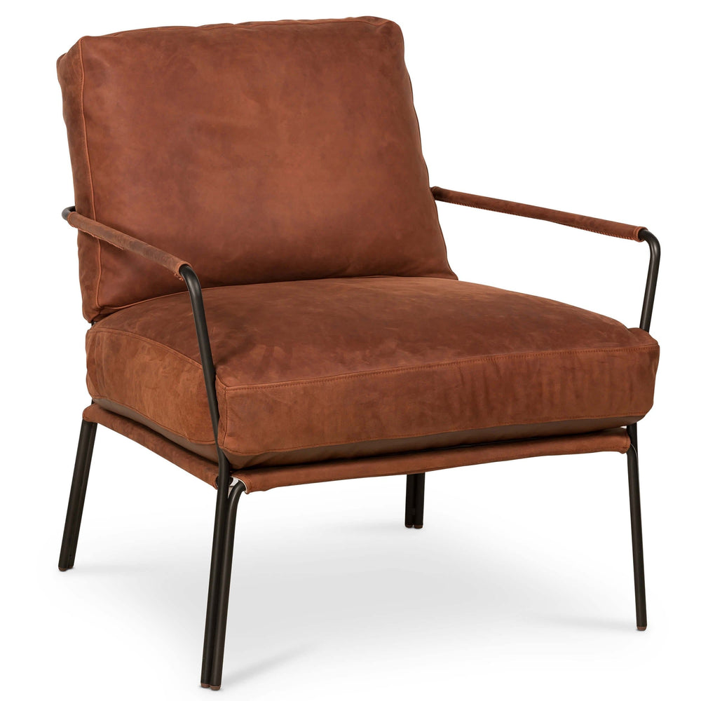 Bowie Leather Chair, Westminister Russet - Modern Furniture - Accent Chairs - High Fashion Home