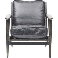 Brooks Leather Lounge Chair, Ebony - Modern Furniture - Accent Chairs - High Fashion Home