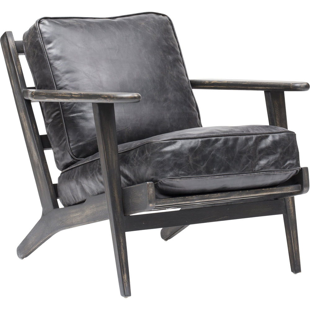 Brooks Leather Lounge Chair, Ebony - Furniture - Chairs - Leather