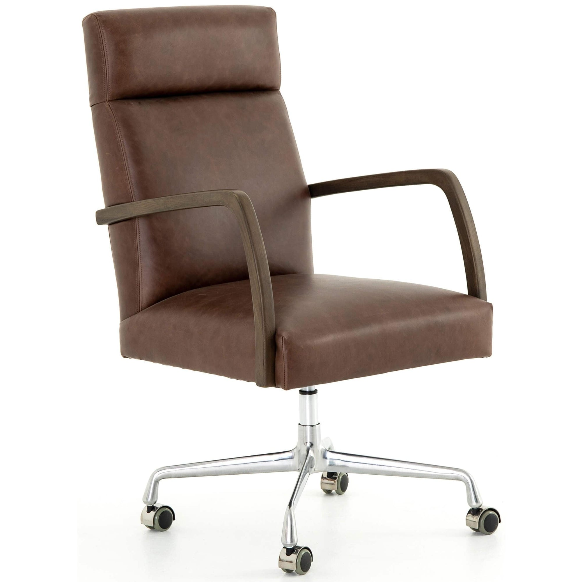 Bryson Leather Desk Chair Havana Brown High Fashion Home