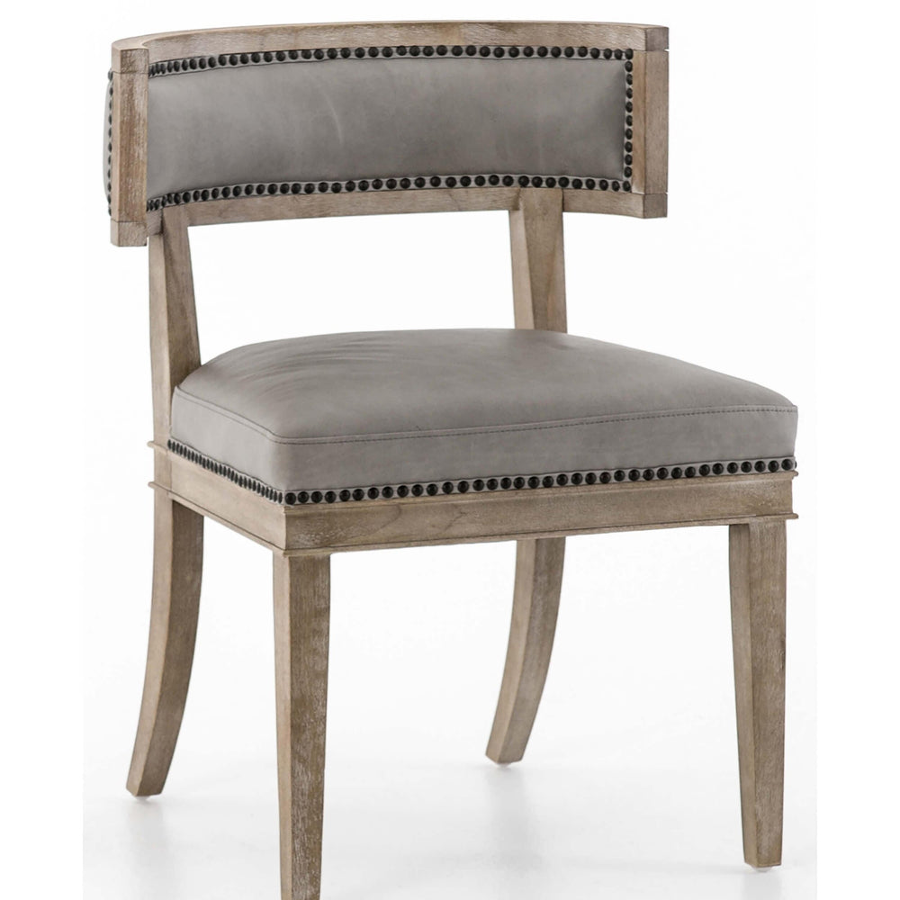 Carter Leather Dining Chair, Light Grey