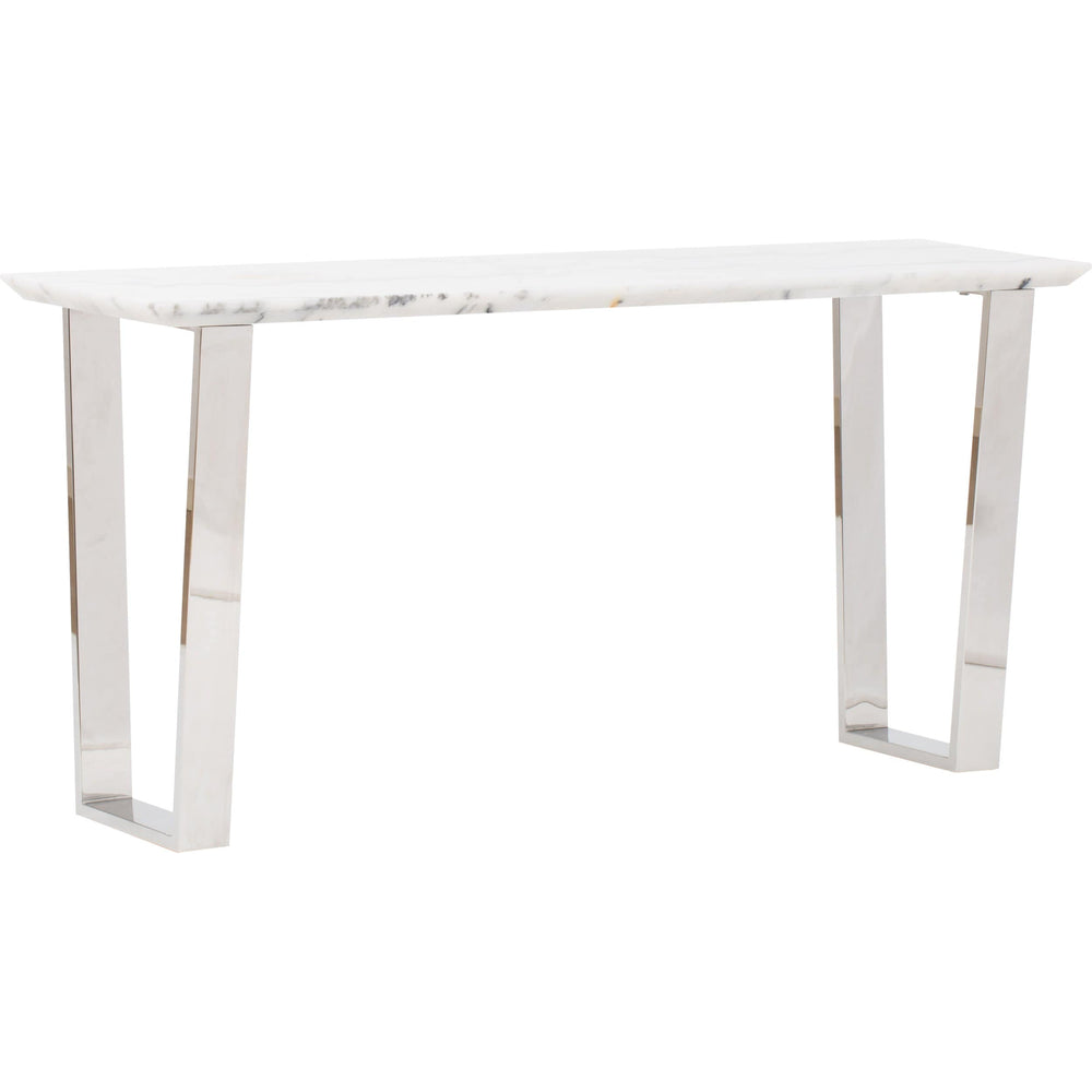 Catrine Console, White Marble/Silver Base - Furniture - Accent Tables - High Fashion Home