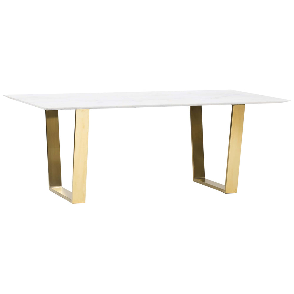 Catrine Dining Table, White Marble/Gold Base -