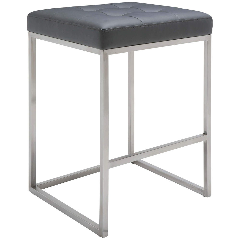 Chi Counter Stool, Grey/Brushed Stainless Base - Furniture - Dining - High Fashion Home