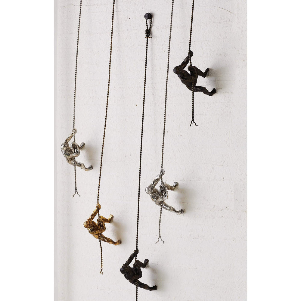 Climbing Man, Wall Mounted, Silver - Accessories - High Fashion Home