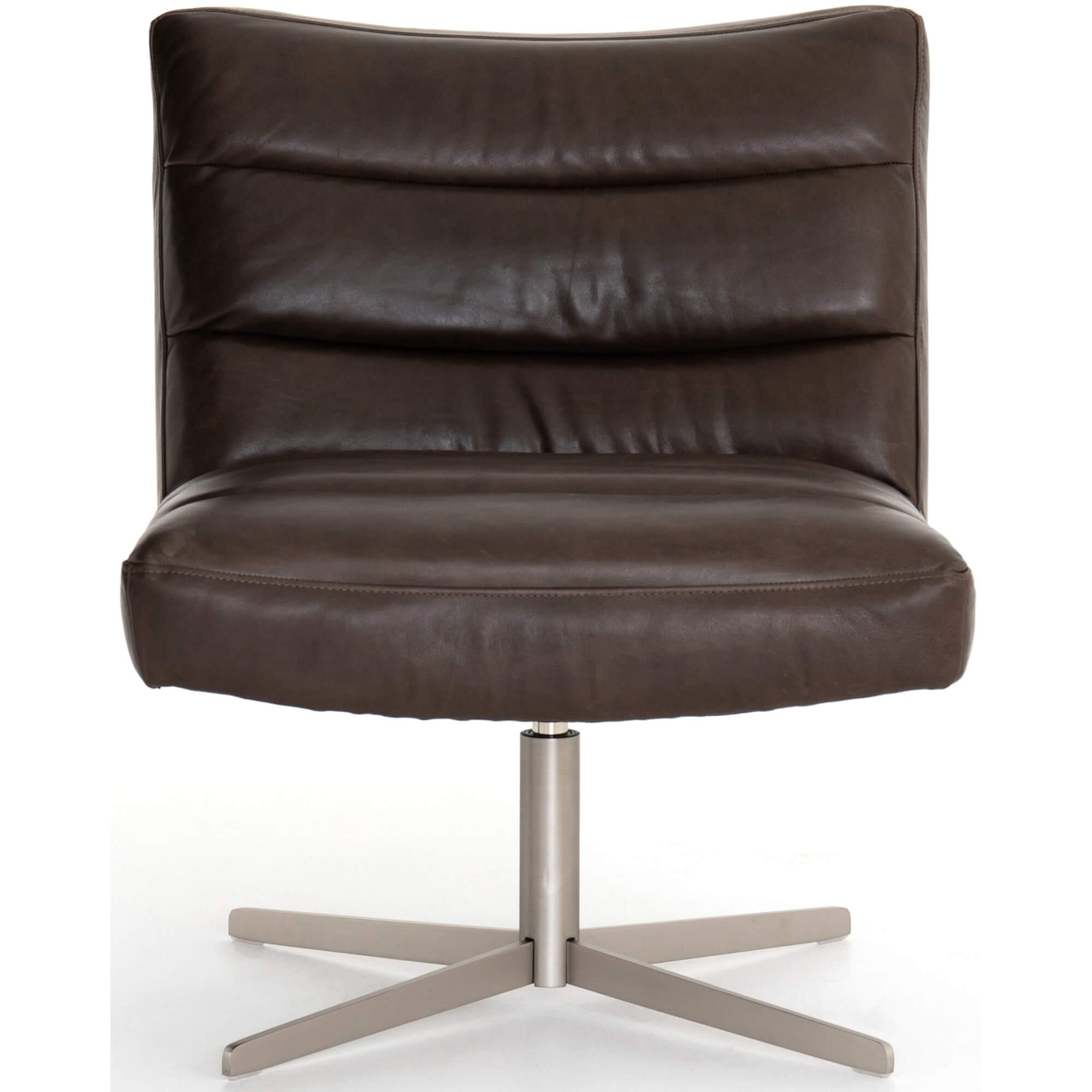 Pleasing Clio Leather Swivel Chair Dakota Charcoal High Fashion Home Inzonedesignstudio Interior Chair Design Inzonedesignstudiocom