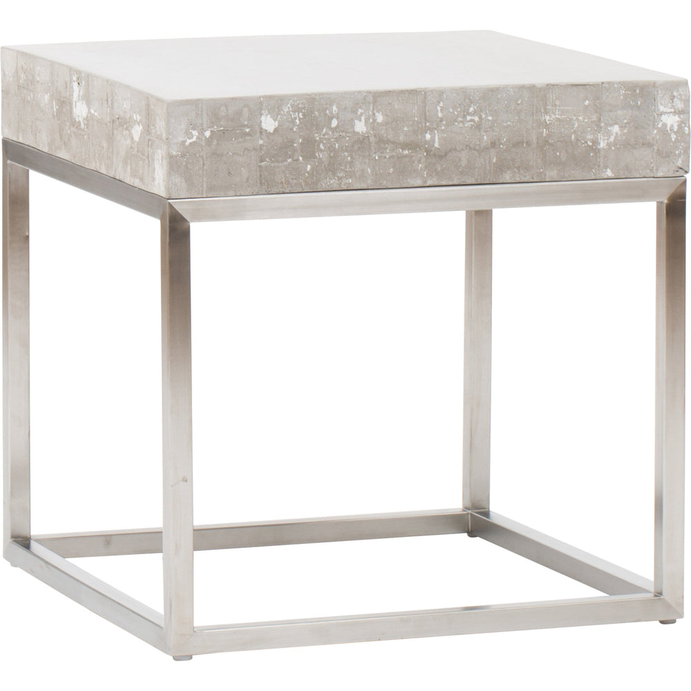 Concrete and Chrome End Table - Furniture - Accent Tables - High Fashion Home