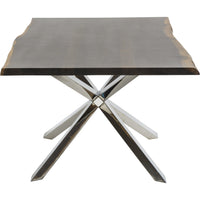 Couture Dining Table, Seared Oak/Polished Stainless Base - Modern Furniture - Dining Table - High Fashion Home