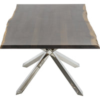 Couture Dining Table, Seared Oak/Polished Stainless Base - Furniture - Dining - Dining Tables