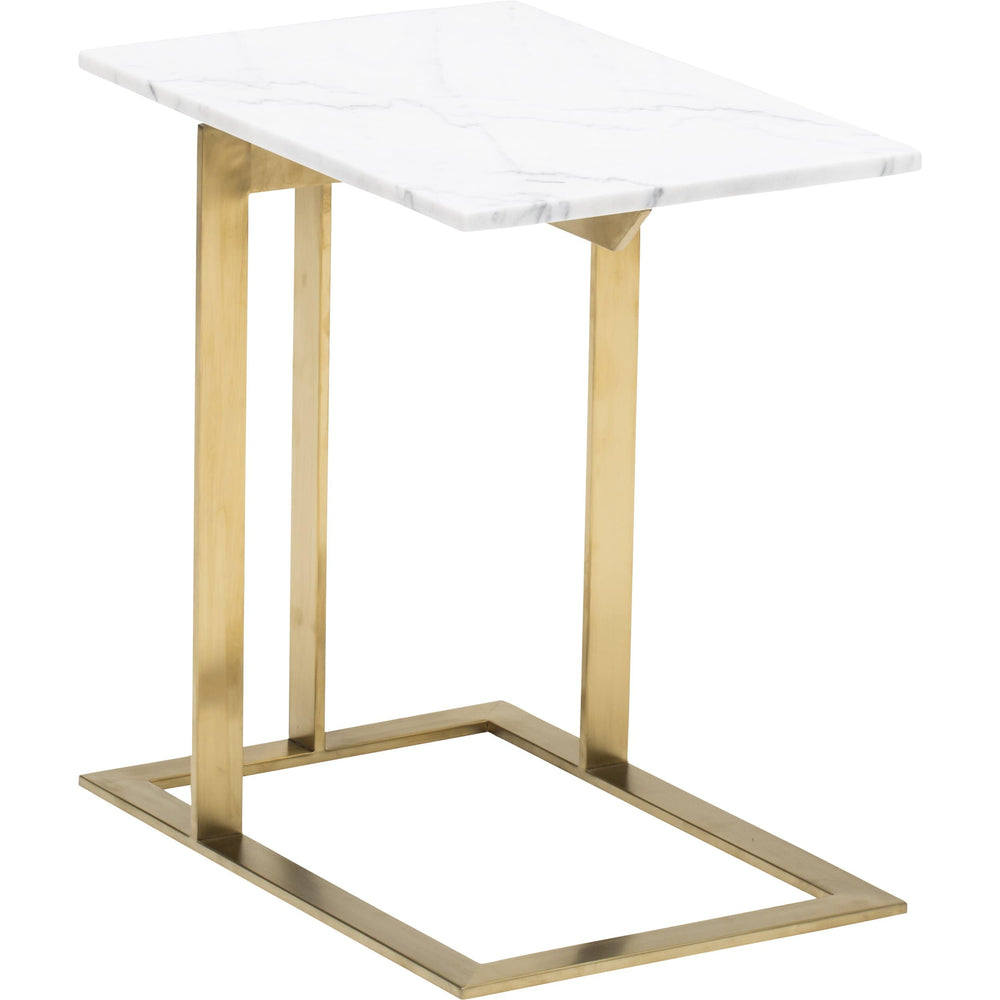 Dell Marble Side Table, White/Brushed Gold Base - Furniture - Accent Tables - High Fashion Home