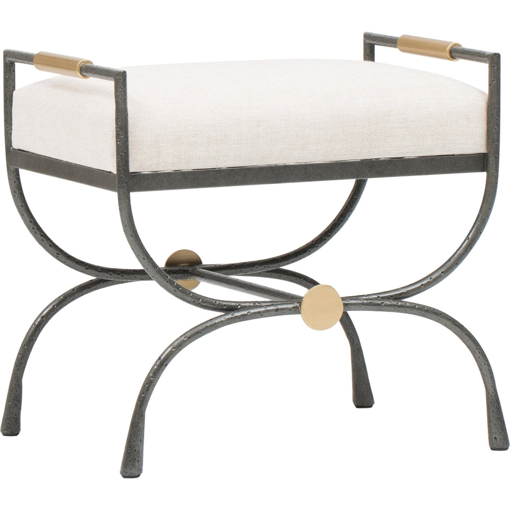 Devon Upholstered Metal Stool - Furniture - Chairs - Ottomans
