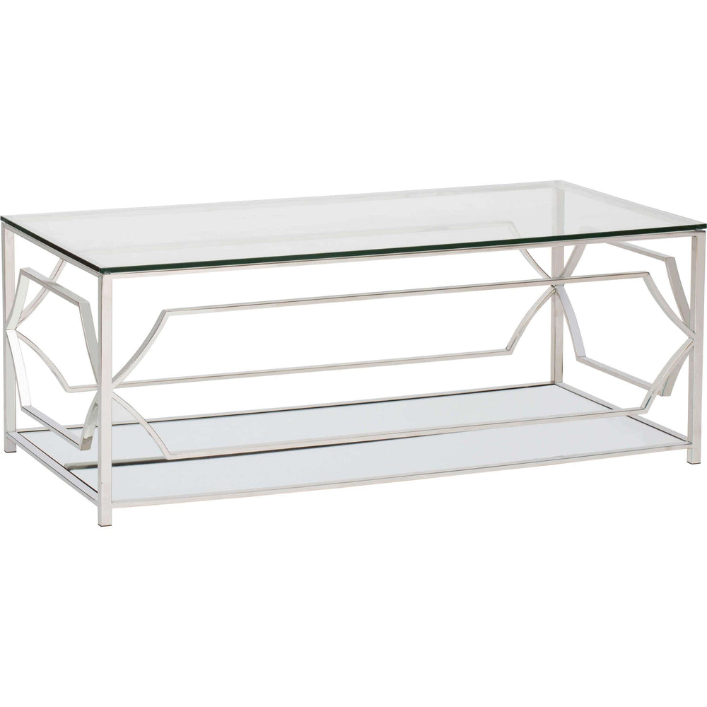 Edward Rectangular Coffee Table, Polished Silver - Furniture - Accent Tables - Coffee Tables
