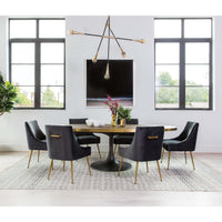 Beatrix Side Chair, Dark Grey/Brushed Gold Base - Furniture - Dining - High Fashion Home