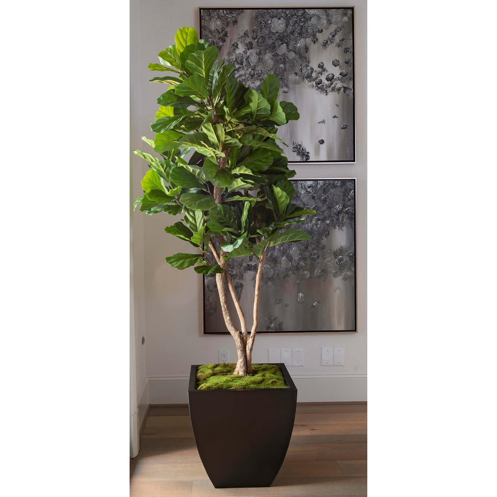 Faux Fiddle Fig Tree, Zinc Planter - Accessories - High Fashion Home