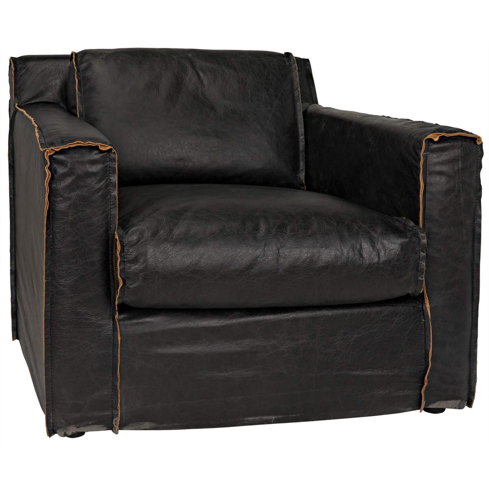 Florence Leather Chair, Black - Modern Furniture - Accent Chairs - High Fashion Home