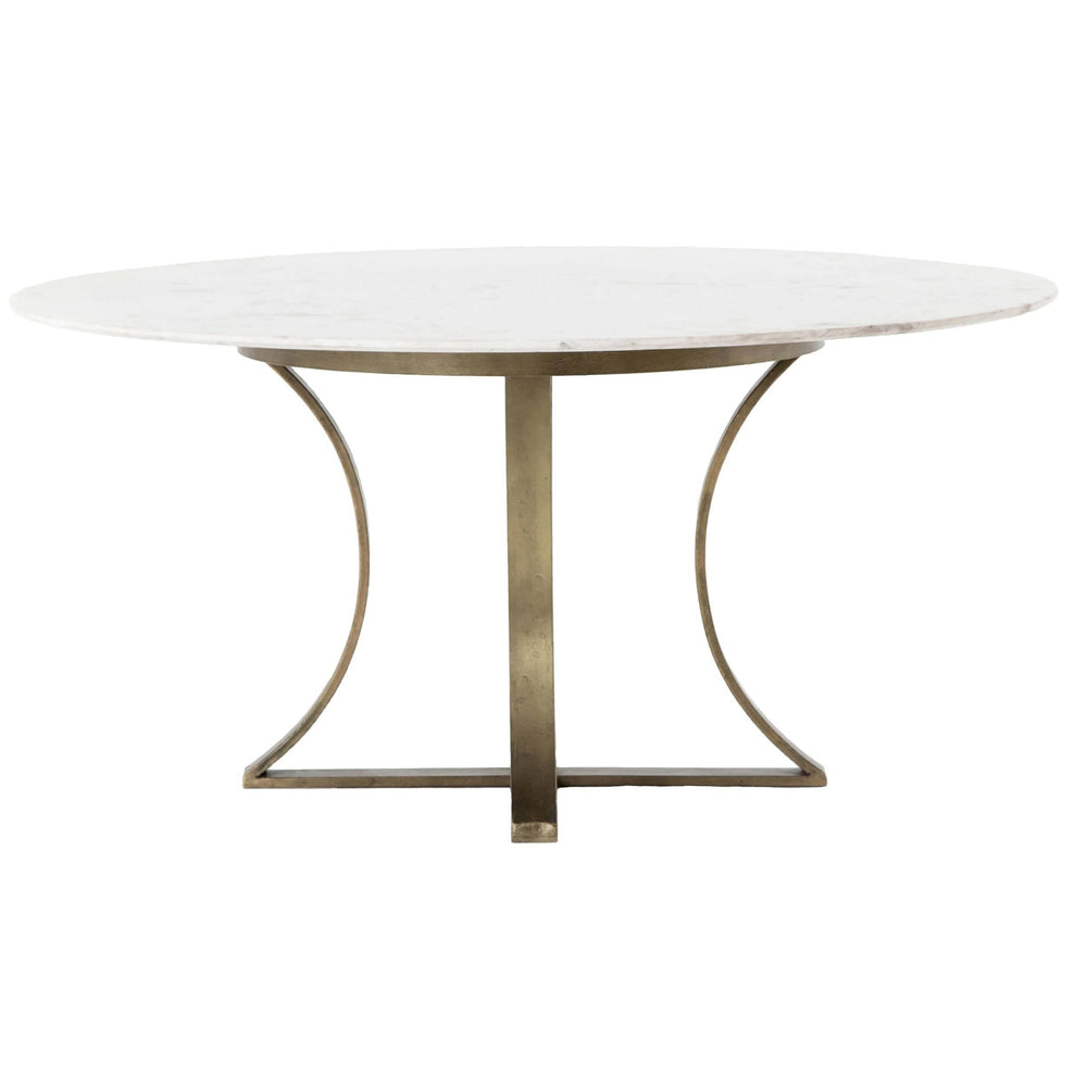 Gage Round Dining Table, White Marble - Furniture - Dining - Dining Tables